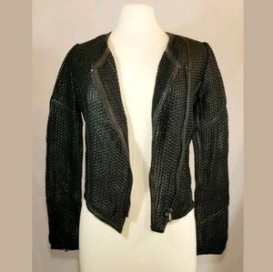 HAUTE HIPPIE Moto Black Leather Jacket, Size Small